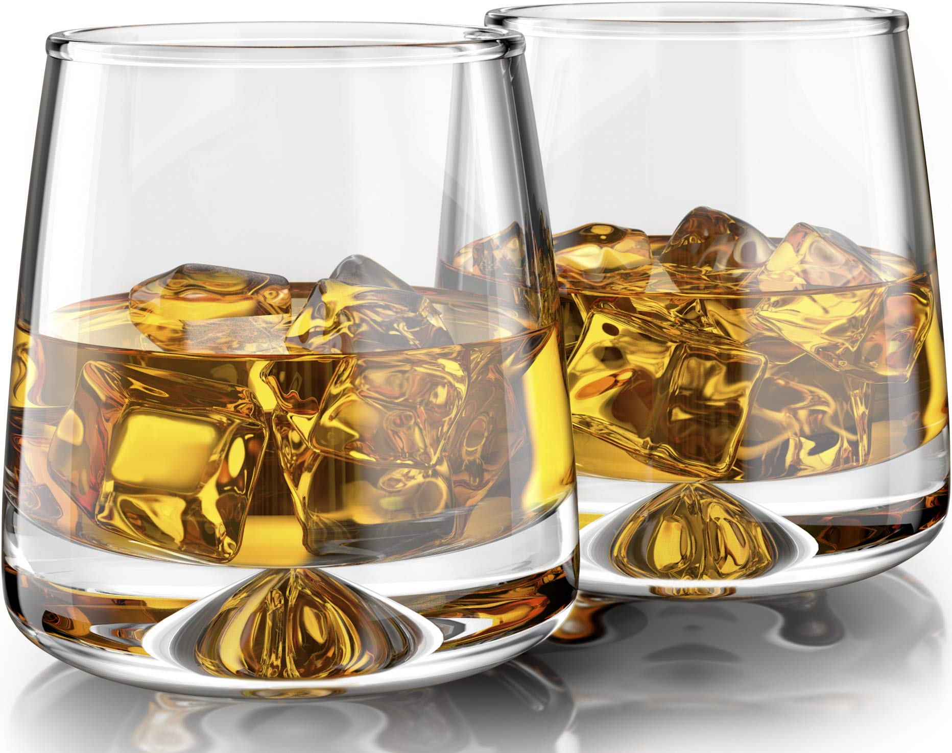 Premium Whiskey Glasses - Large - 12oz Set of 2 - Lead Free Hand Blown Crystal - Thick Weighted Base - Seamless Design - Perfect for Scotch, Bourbon, Manhattans, Old Fashioned, Cocktails.
