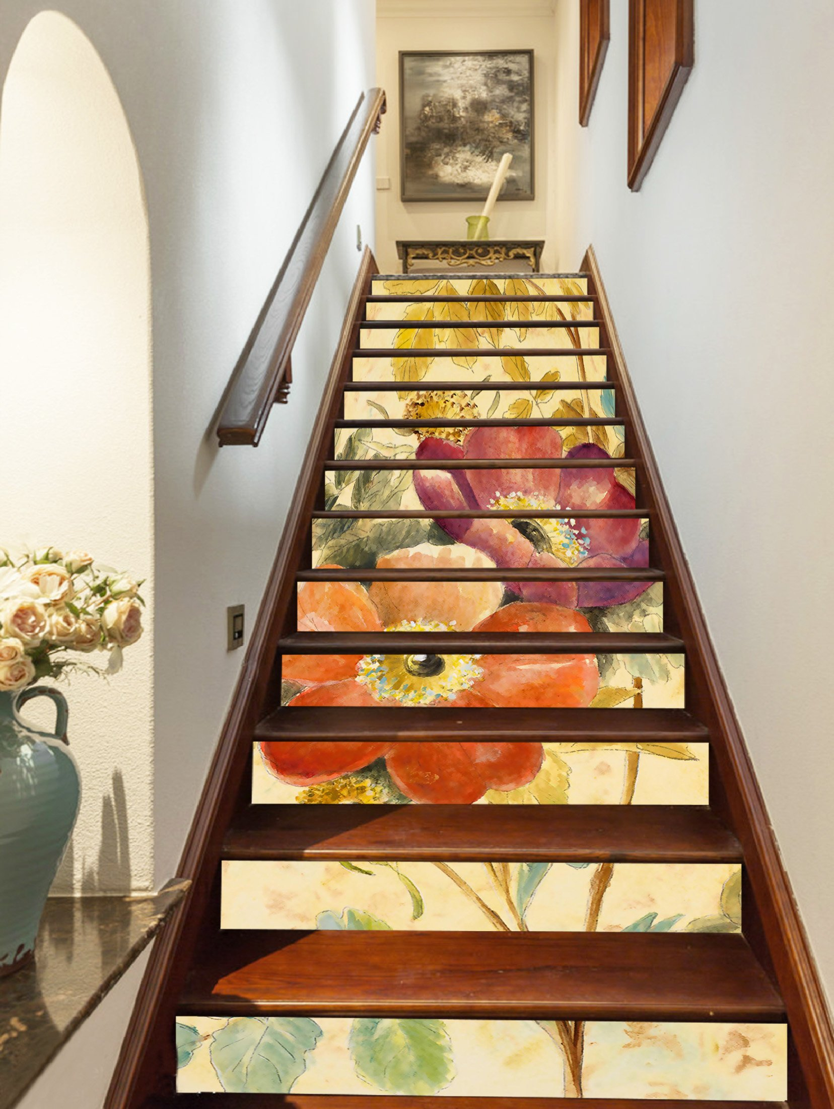 3D Beautiful Flowers Painting 0695 Stair Risers Decoration Photo Mural Vinyl Decal Wallpaper Murals Wallpaper Mural US Lemon (15x H:18cm x W:94cm (7''x37'')) by AJ WALLPAPER