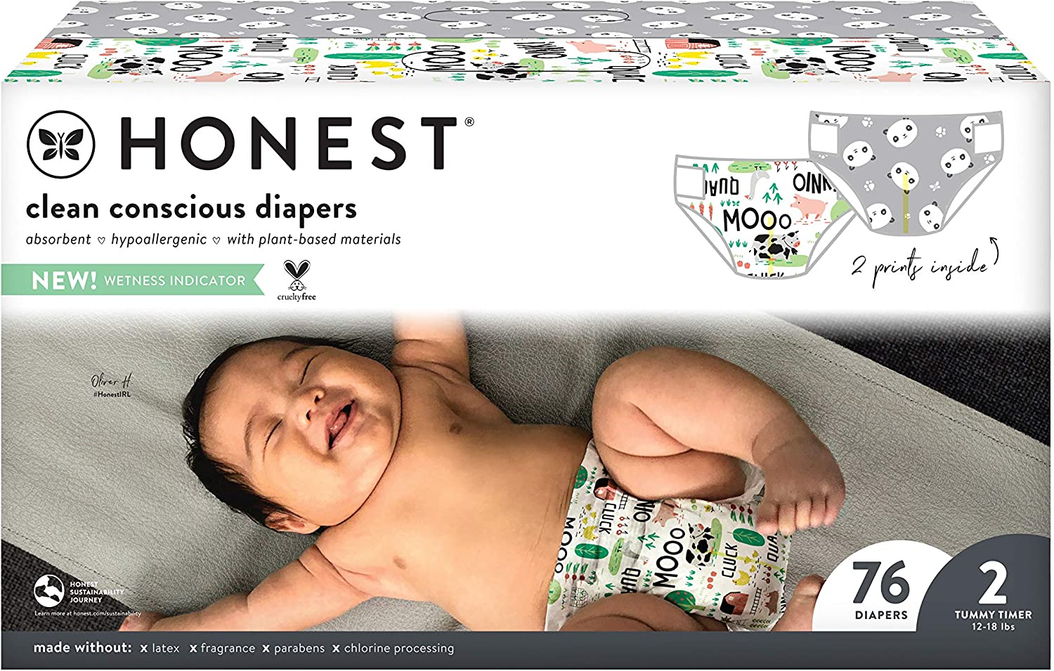 The Honest Company, Club Box, Clean Conscious Diapers, Pandas +Barnyard Babies, Size 2, 76 Count (Packaging May Vary)