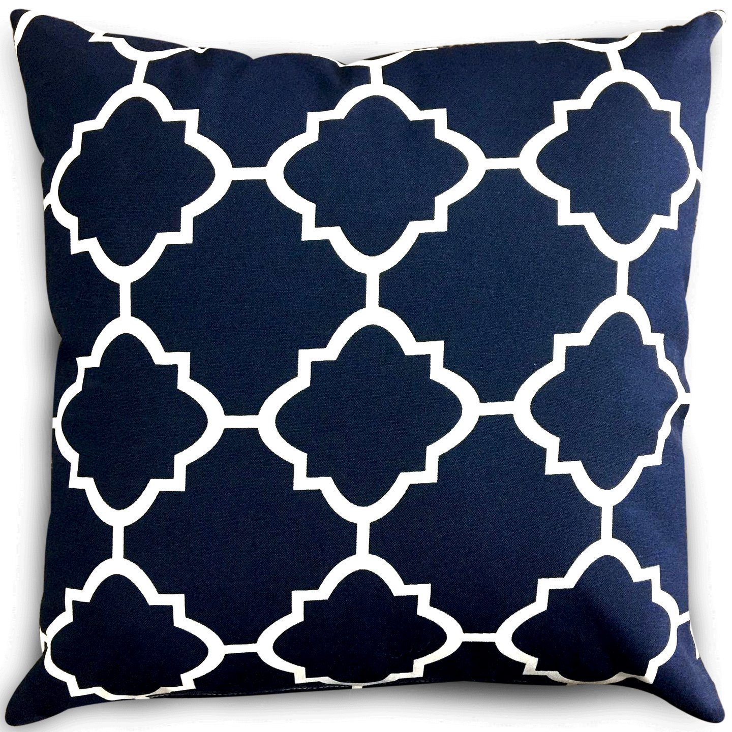 Utopia Bedding Decorative Square 18 x 18 inch Throw Pillow - Navy & White Moroccan Quatrefoil Lattice Cushion Pillow UH0367