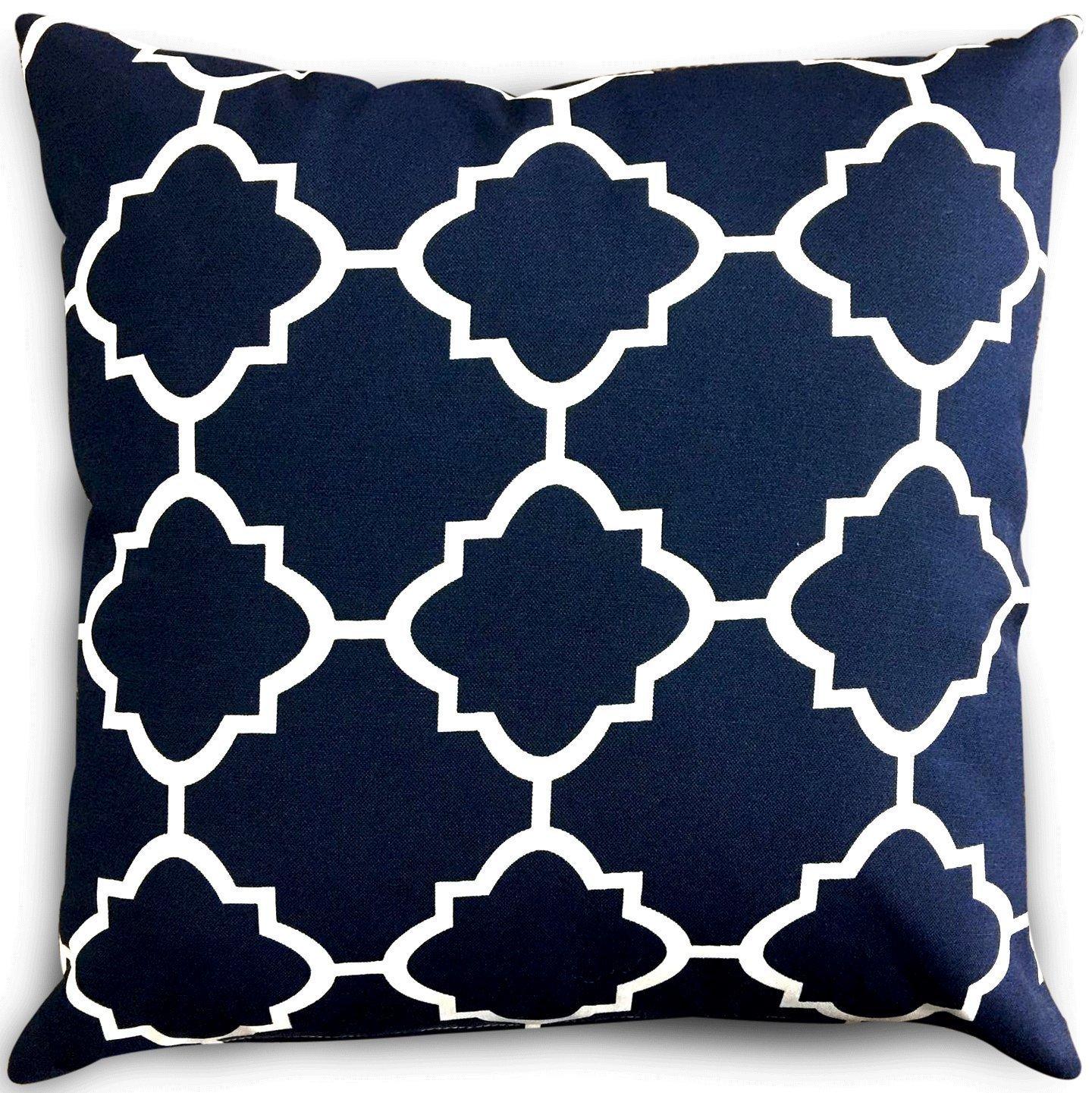 Utopia Bedding Decorative Square 18 x 18 inch Throw Pillow - Navy & White Moroccan Quatrefoil Lattice Cushion Pillow by Utopia Bedding