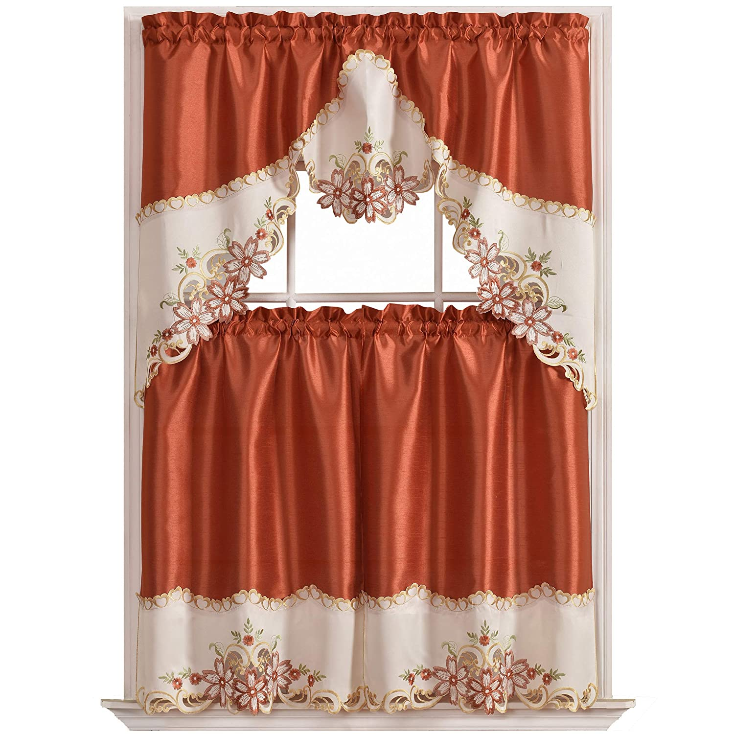 GOHD Golden Ocean Home Decor Arch Floral Kitchen Cafe Curtain Set. Window Treatment Set for Small Windows. Nice Matching Color Floral Embroidery on Border with cutworks (Rust)