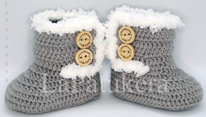 Bootees Kanada. Wolle, Babyschuhe häkeln, Unisex. Stil, Bootees Kanada. Farbe zur Auswahl, aus Wolle, 4 Größen 0-9 Monate. handgefertigt in Spanien. Turnschuh gehäkelt gestrickt, Geschenk fürs Baby Babyschuhe häkeln Geschenk fürs Baby