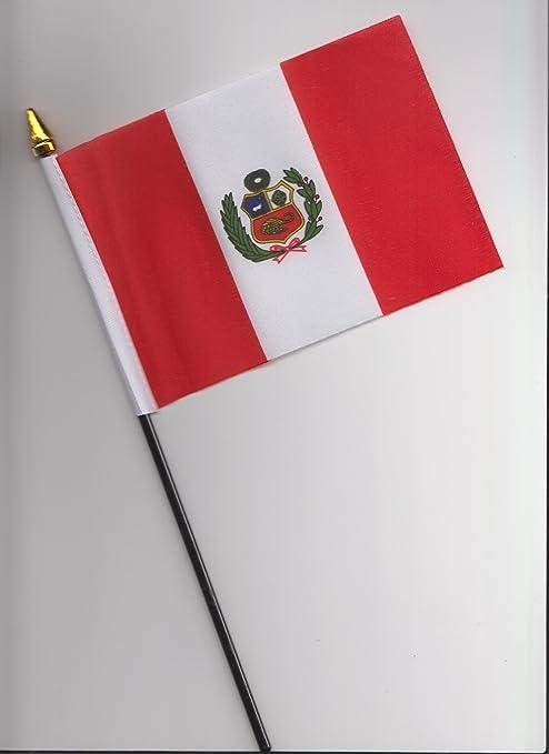 1000 Flags Banderín de Mano con la Bandera de Perú, 25 cm: Amazon.es: Jardín