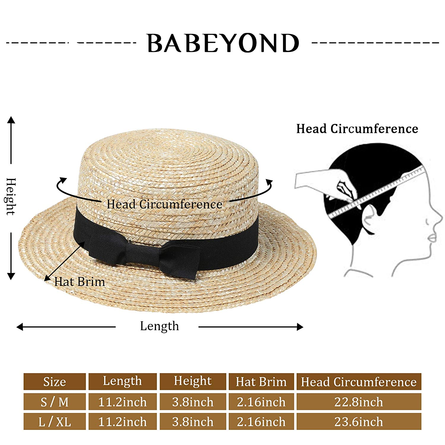 BABEYOND Mens 1920s Brim Boater Hat Gatsby Straw Hat 20s Costume Accessories