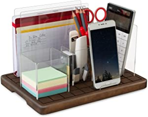 TESLYAR Adjustable Desk Organizer Сell Phone Stand Mail Holder Solid Wood Acrylic Set Pen Pencil Tray Note Paperclip Storage Tablet Laptop Accessories Supplies Table Desktop Organization Office Home