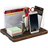 TESLYAR Adjustable Desk Organizer Сell Phone Stand Mail Holder Solid Wood Acrylic Set Pen Pencil Tray Note Paperclip…