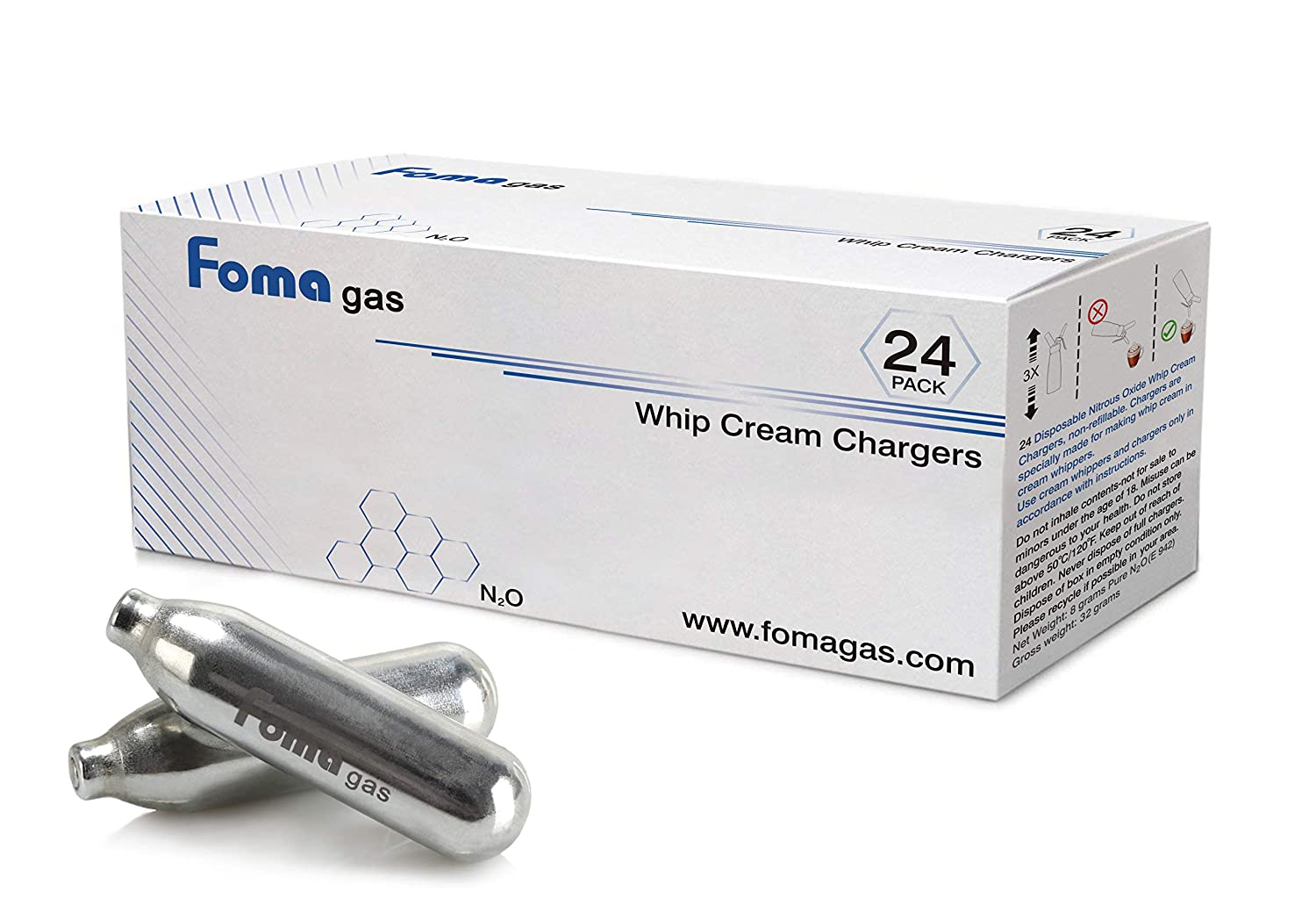 Foma Gas Pure Food Grade N2O Whip Cream Chargers 24 Packs