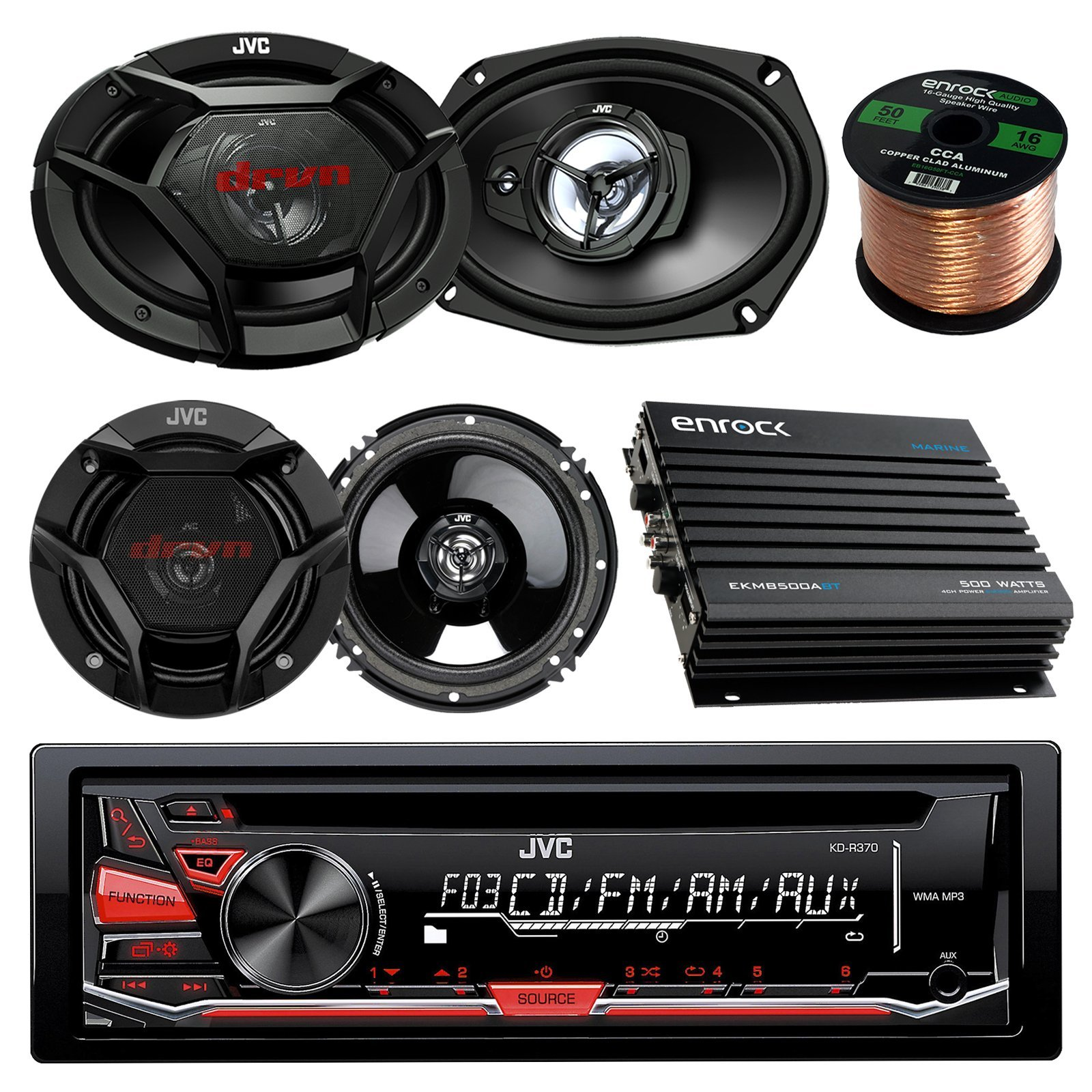 JVC KDR370 CD/MP3/WMA Receiver Bundle Combo With 2x CSDR6930 6x9'' 3-Way Stereo Coaxial Speakers + 2x CSDR620 6.5'' 2-Way Audio Speaker + Enrock 400w 4-Chan Bluetooth Amplifier + 50Ft 16g Speaker Wire by JVC