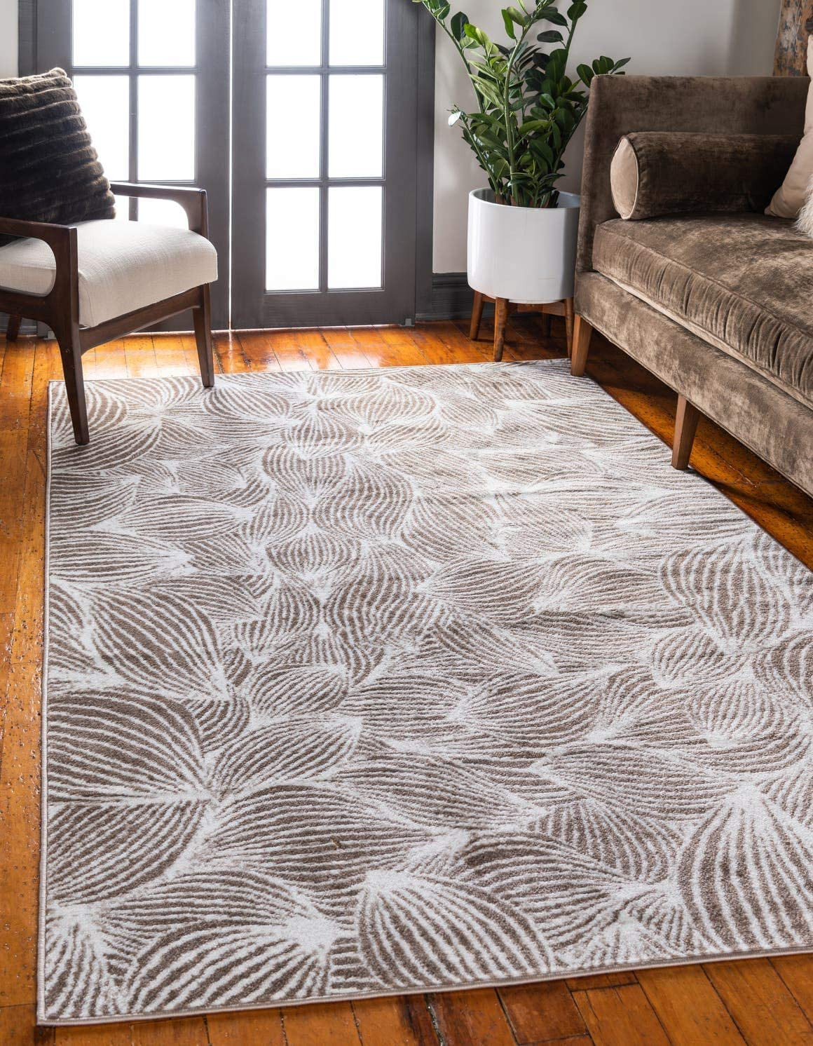 Unique Loom Metro Collection Abstract Curvy Lines Beige Area Rug 8 0 x 10 0