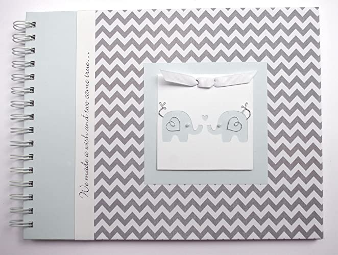 TWIN Baby Shower Guest Book By Charmbooks | Personalized Guestbook | Gray  Chevron + Blue |
