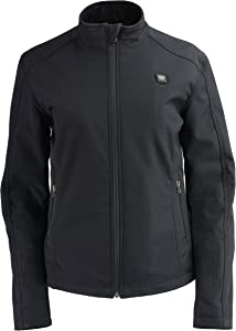 Milwaukee Leather MPL2760SET Women's Black Soft Shell Jacket with Heating Element and Included Battery Pack - Medium