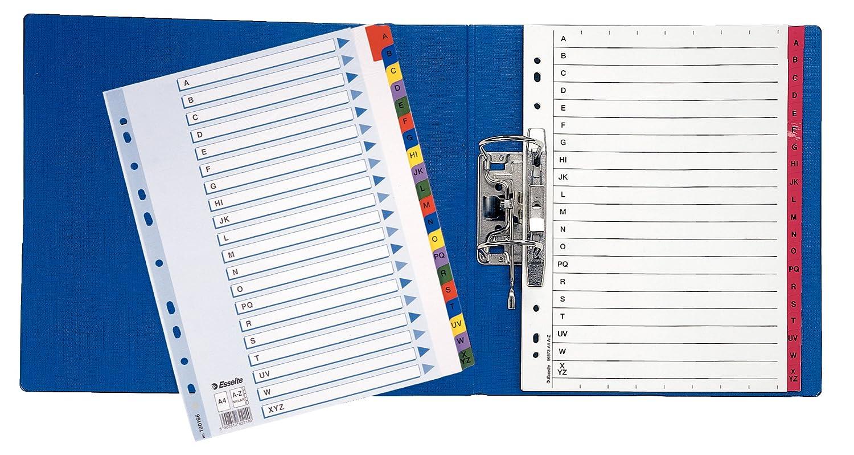 Esselte Abecedario de cartón Mylar con portada índice, Tamaño A4, Multicolor,100166: Amazon.es: Oficina y papelería