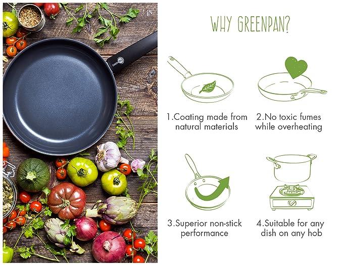 GreenPan Cambridge - Sartén de Aluminio, Color Negro, Aluminio, Negro, 33x23