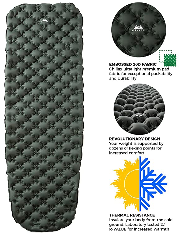 WellaX Ultralight Air Sleeping Pad - Inflatable Camping Mat for Backpacking, Traveling and Hiking Air Cell Design for Better Stability & Support