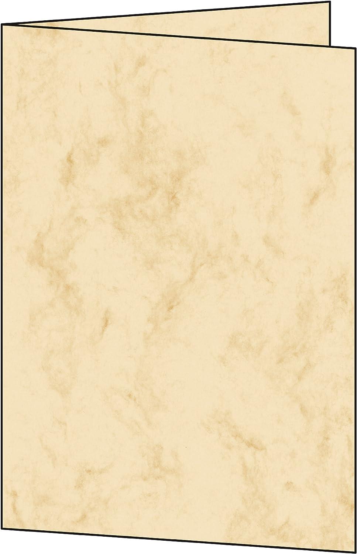 A5 Edelkarton 185 g 25 St/ück SIGEL DC504 Faltkarten marmoriert beige