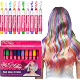 HAIR CHALKS SET: 10 Colorful Hair Chalk Pens. Temporary Color for Girls for All Ages. Makes a Great Birthday Gifts For Girls.