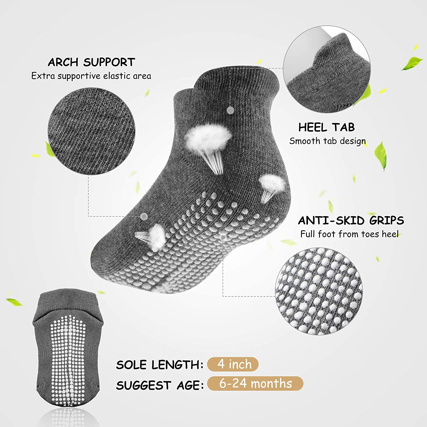Grey Series Baby Hats and Socks Set Newborn Baby Winter Knot Beanie Hat and Anti Slip Toddler Ankle Socks