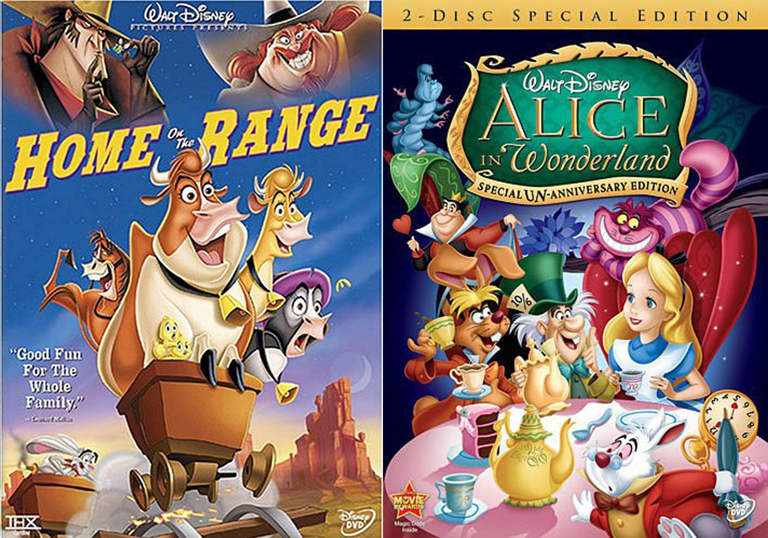 Un-Anniversary Cartoon Alice in WonderLand 2 Disc + Tales: Disney's Home On The Range Double Feature DVD Pack ...Late for a very important date!