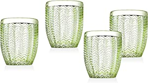 Twill Double Old Fashioned Beverage Glass Cup by Godinger – Emerald Green – Set of 4