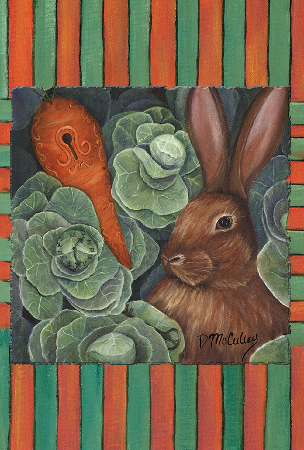 Toland Home Garden Late For A Date Bunny 12.5 x 18 Inch Decorative Spring Cabbage Carrot Keyhole Wonderland Rabbit Garden Flag