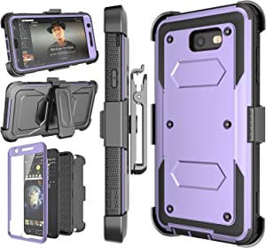 Njjex Galaxy J7 Sky Pro Case,For J7 V/ J7 Perx /J7 Prime Case, [Nbeck] Heavy Duty Built-in Screen Protector Rugged Holster Locking Belt Swivel Clip Phone Cover & Kickstand For Samsung J7 2017 [Purple]