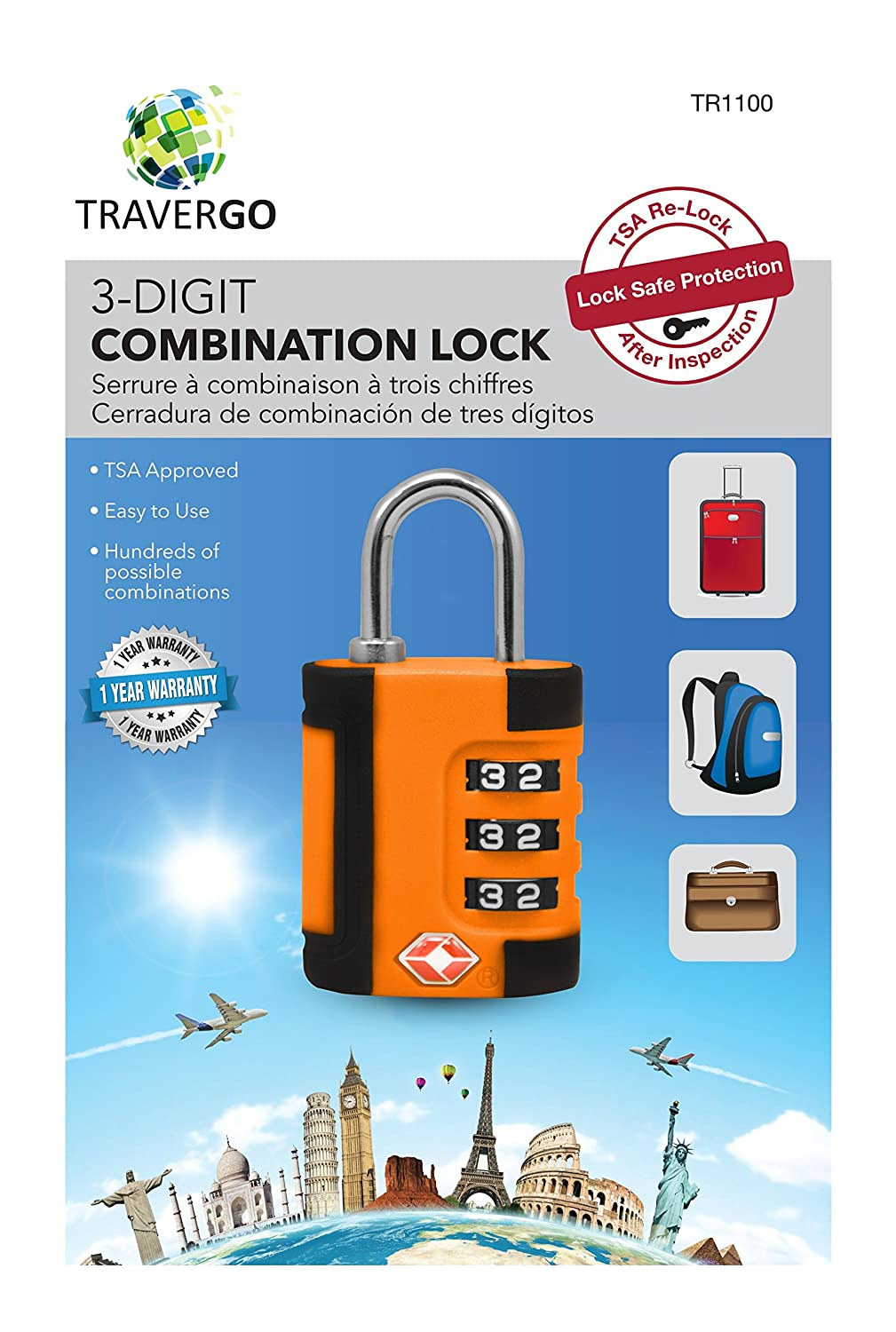 Amazon.com: Go Green Power 3 Digit Combination Lock in Two Tone Color, Orange, 0.2 Pound: Health & Personal Care