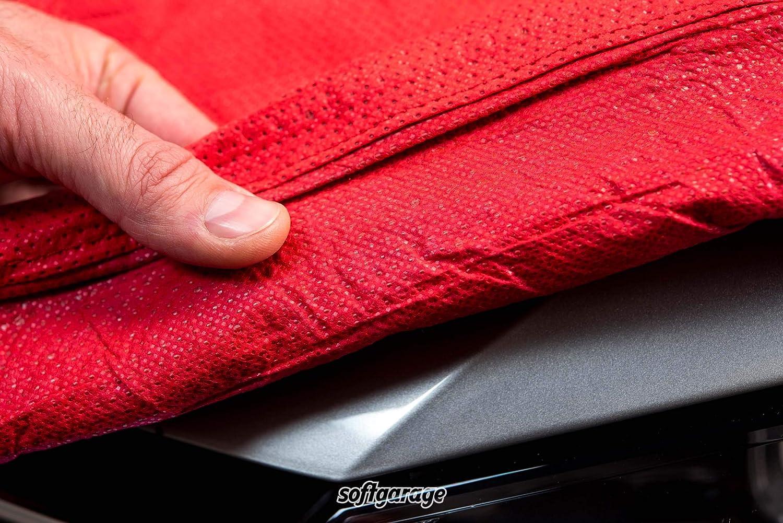 SOFTGARAGE 3-lagig rot Indoor atmungsaktiv wasserabweisend Car Cover Vollgarage Ganzgarage Autoplane Autoabdeckung