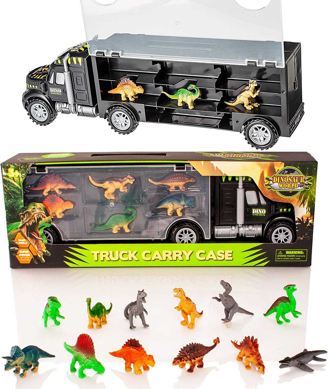 Camión transportador de Dinosaurios y 12 Figuras de Juego de Dinosaurios de Juguete - Jurassic Dino World Set