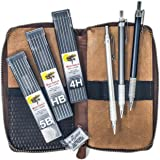 Drawing Set, Leather Pencil Case, Mechanical Drawing Pencils for Artists with Refills and Kneaded Eraser