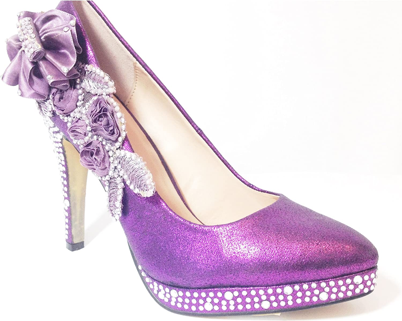 Purple Wedding Shoes Stunning Crystal Ladies Bridal High Heel Brides Bridesmaids Shoes 5 Amazon Co Uk Shoes Bags