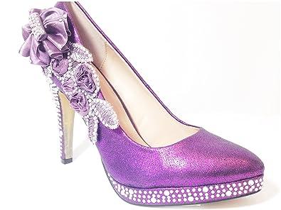 80074366084b8 Purple Wedding Shoes - Stunning Crystal Ladies Bridal High Heel Brides   Bridesmaids  Shoes (3