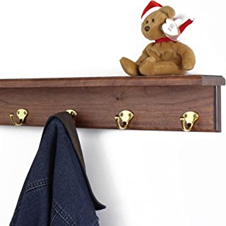 "product image for PegandRail Solid Cherry Shelf Coat Rack with Solid Brass Single Style Hooks (Mahogany, 16"" with 3 Hooks)"