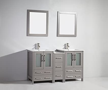 Vanity Art 60 Inch Double Sink Bathroom Vanity Set Ceramic Top Free Mirror  VA3024 60