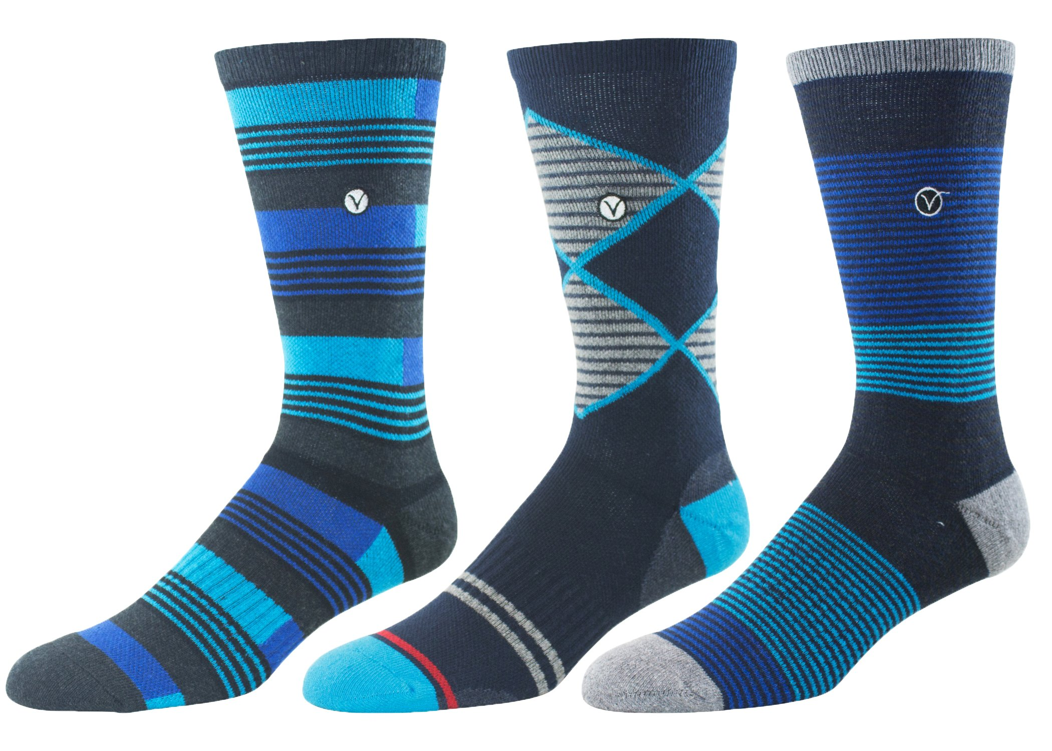 Mens 3 Pack Causal Cotton Socks – Versatile For Any Occasion By VYBE Size (9-13) (Combo G)