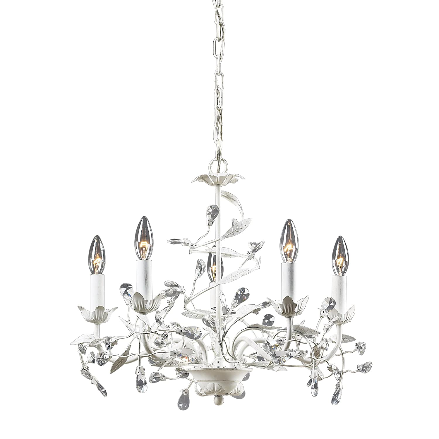 Elk lighting 181135 circeo five light chandelier antique white elk lighting 181135 circeo five light chandelier antique white crystal chandelier lighting amazon aloadofball Images