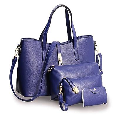 4618774c521c 4 Ladies Handbag Set Shoulder Bag Purse Card Holder Leather Tote Satchel  Handbags for Women (