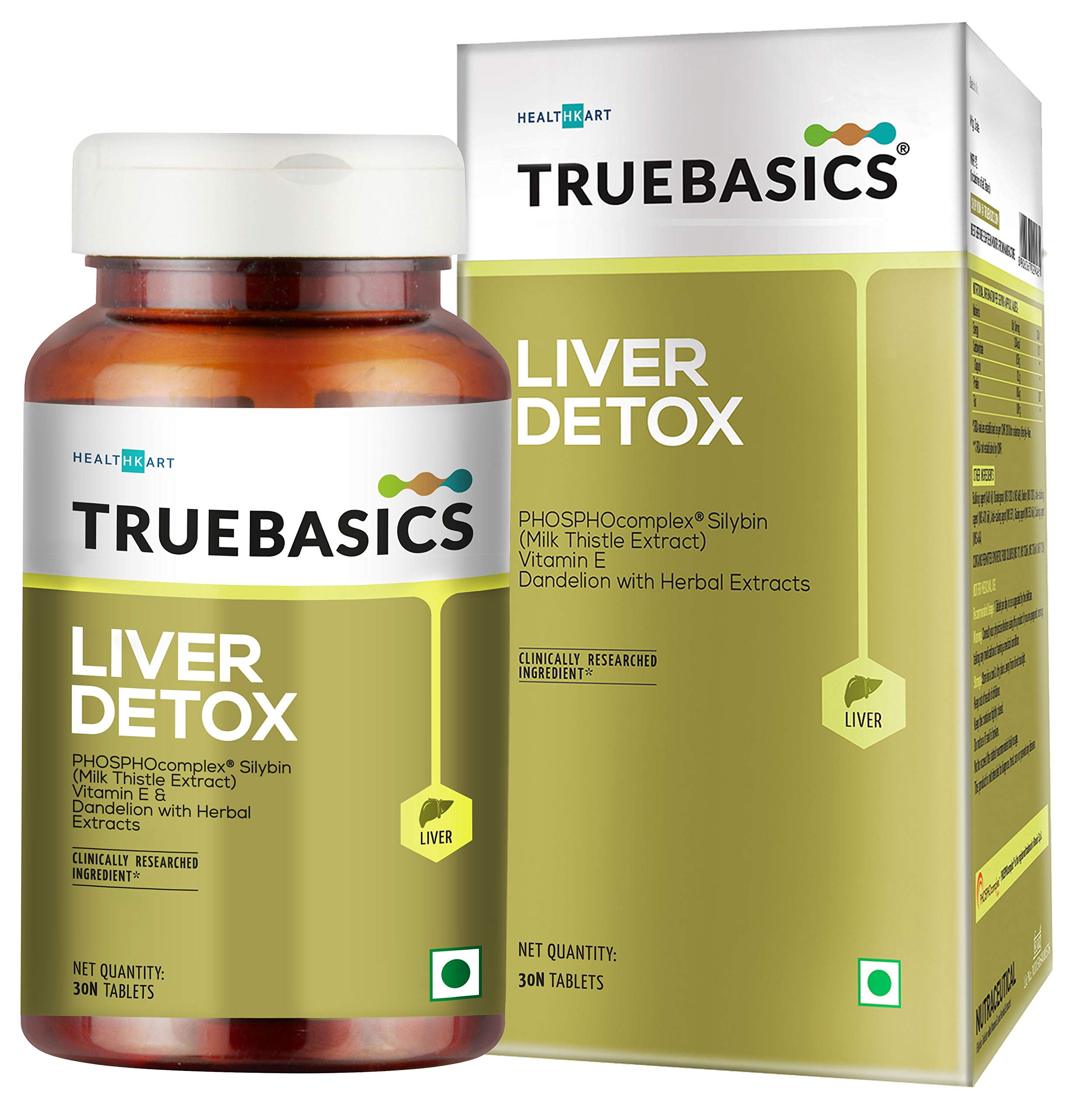 TrueBasics Liver Detox - Milk Thistle Extract (Silybin) with Dandelion & Vitamin E || Clinically Researched Ingredients…