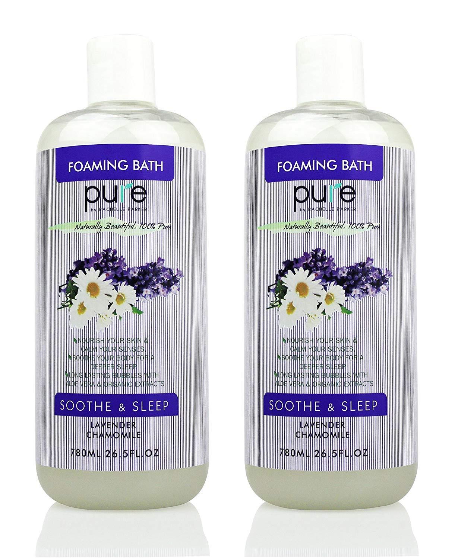 PURE Aromatherapy Lavender and Chamomile Bubble Bath for Women & Kids, Bubble Bath for Kids Tear Free - Nourishes & Soothes, XL Lavender Bubble Bath Hypoallergenic & Sulfate Free Bubble Baths