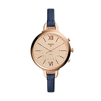 b94b32b795ea Amazon.com  Fossil Women s Annette Blue Leather Hybrid Smartwatch FTW5022   Watches