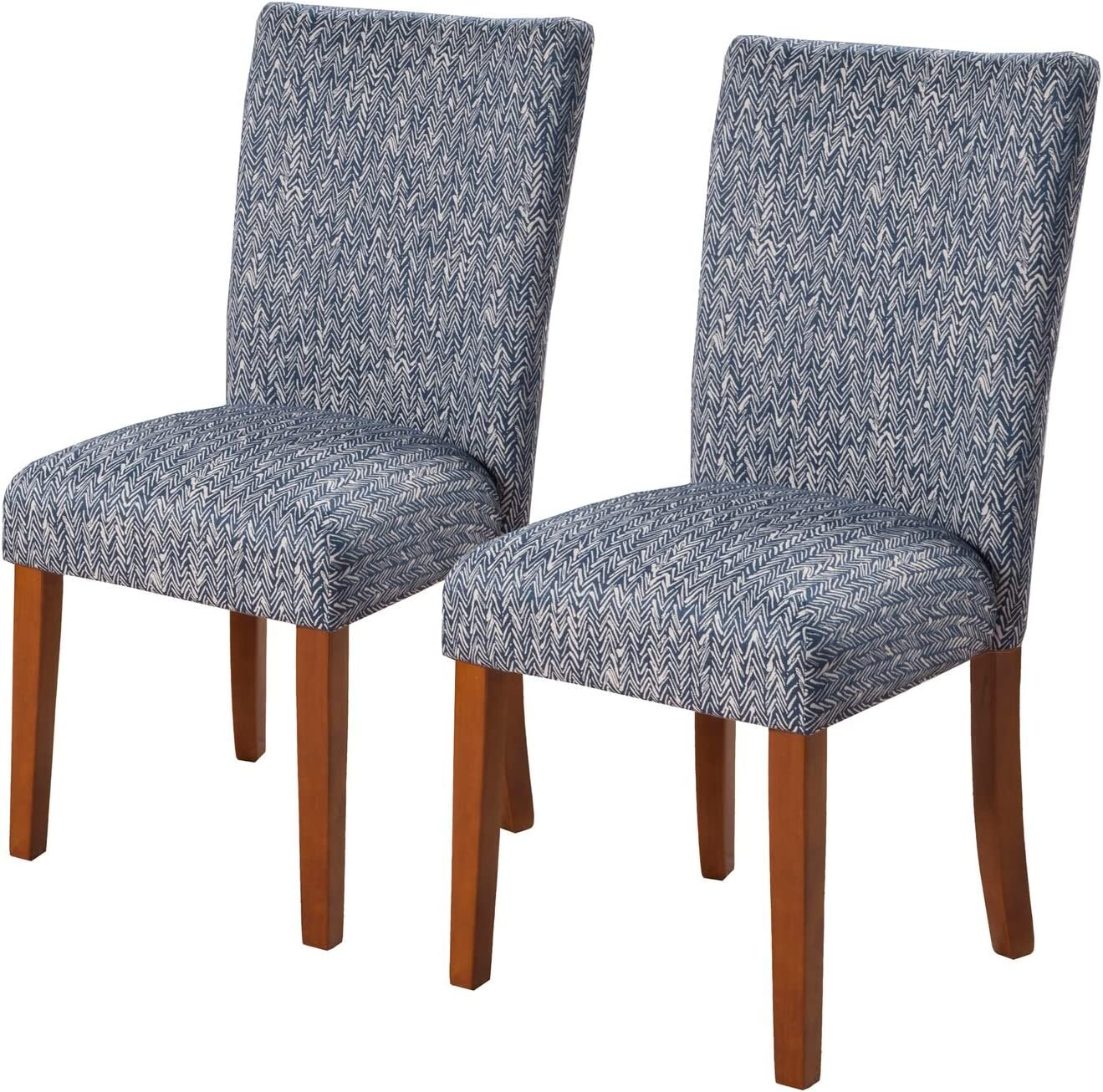HomePop Parsons Classic Upholstered Accent Dining Chair, Set of 2, Navy: Furniture & Decor