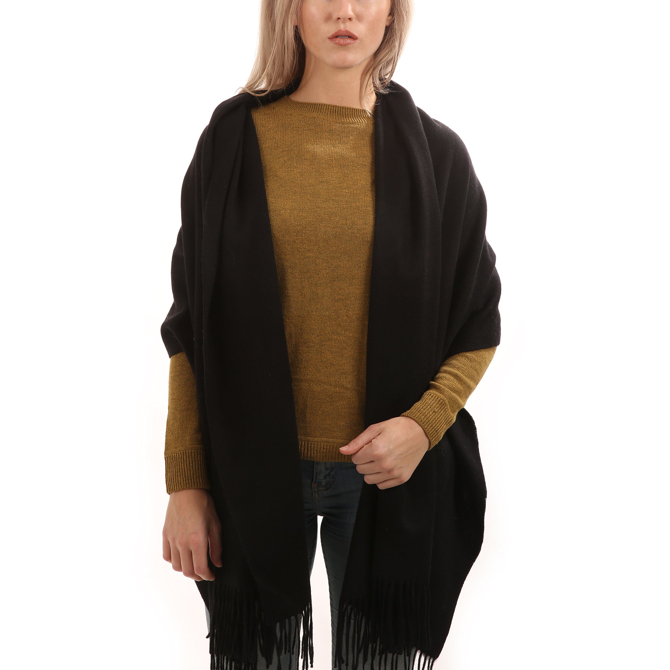 Cashmere Wool Scarf - Extra Large 28''x74'' - for Men and Women (Black)