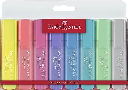 Faber-Castell 154681 - Estuche con 8 marcadores fluorescentes tonos pastel Textliner 1546, colores surtidos: Amazon.es: Oficina y papelería