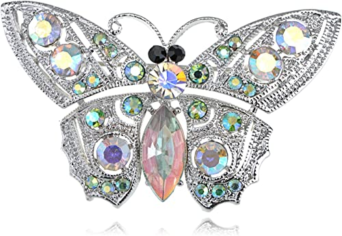 set of  20 Silver Tone Butterfly Iridescent Rhinestone Pin Brooch US SHIPPER