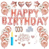Happy People Rose gold theme balloons kit, Birthday party decoration set, Helium balloons, party supplies kit, confetti…