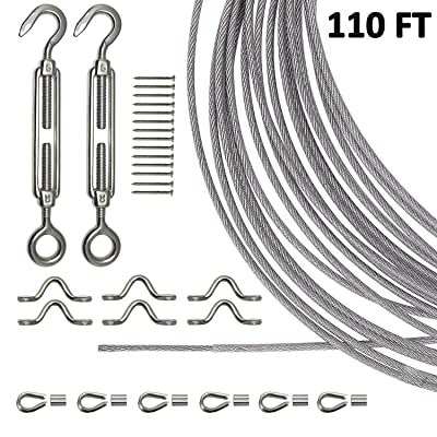 Joddge Stainless Steel Lights Kit, String Light Suspension Kit, Outdoor Light Guide Wire, Includ 110 FT 304 Stainless Steel Wire Rope Cable, Turnbuckle and Hooks : Garden & Outdoor