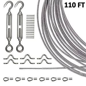 Joddge Stainless Steel Lights Kit,String Light Suspension Kit,Outdoor Light Guide Wire,Includ 110 FT Wire Rope Cable,Turnbuckle and Hooks