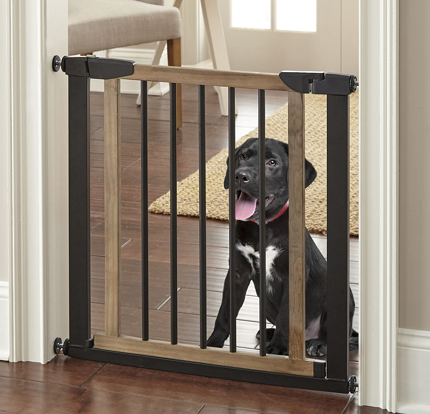 Logan Dog Gate – Indoor Pet Barrier, Expandable to 40 , Walk Through Swinging Door, Extra Wide, Pressure Mounted, Walls, Stairs. Small and Large Dogs. Wood, Metal. Best Dog Gate. NMN Designs