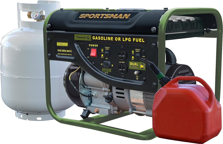 Dual Fuel Powered Portable Generator 1400 Running Watts//2000 Starting Watts Sportsman GEN2000DF