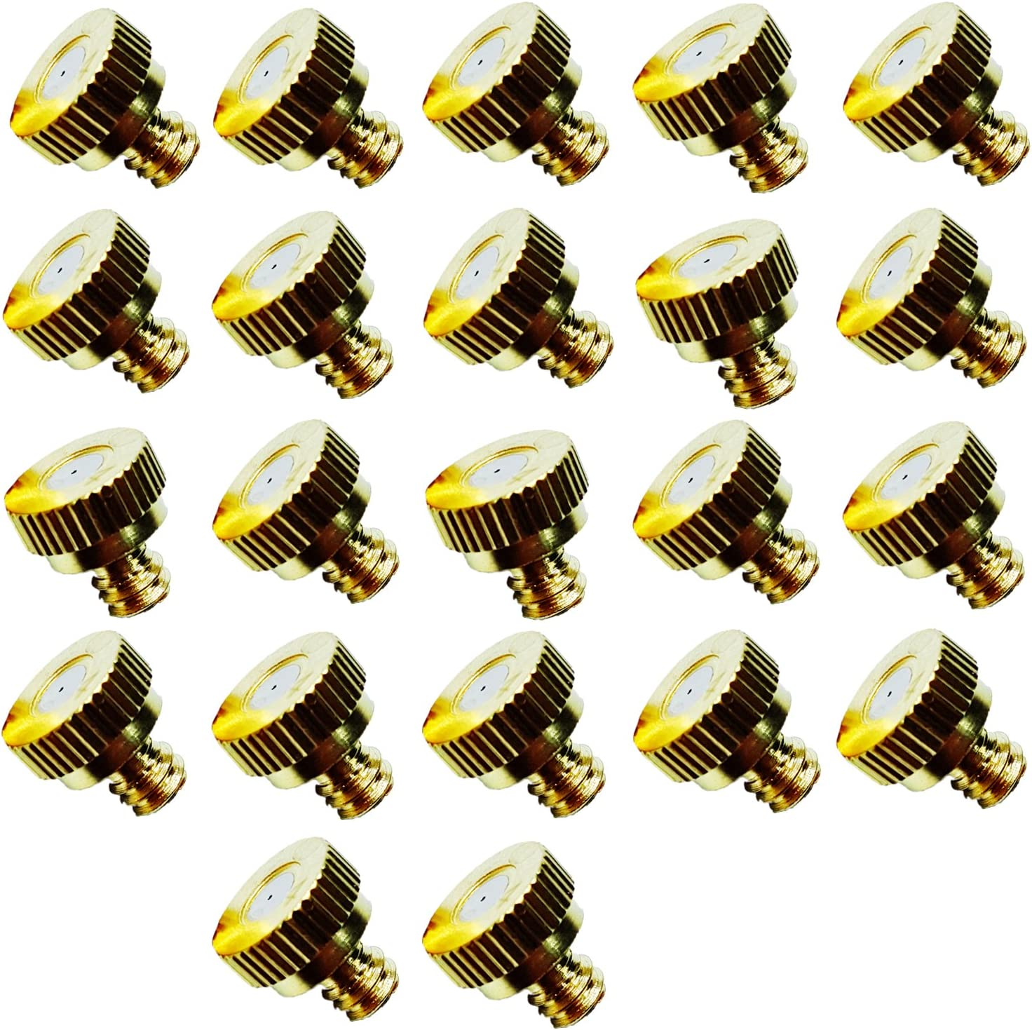 """Brass Misting Nozzles for Outdoor Cooling System 22 pcs,0.016"""" Orifice (0.4 mm) 10/24 UNC (Brass)"""
